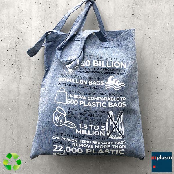 Nachhaltige Werbeartikel Stofftasche aus Recycling Fasern mit Baumwolle. Schön mit Logo oder Motiv zu bedrucken.