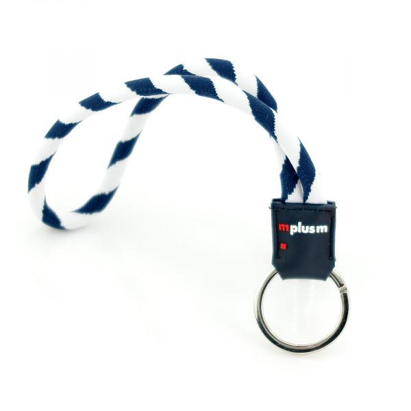 Schlüsselanhänger aus feinem Kordel-Band mit Logo auf Gummi Badge. Preiswerter Werbeartikel.