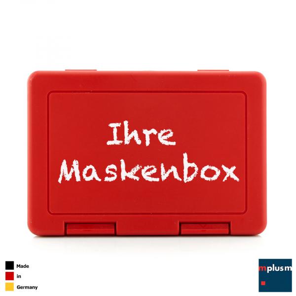 Box zur Aufbewahrung von Mundschutz oder Gesichtsmaske. Leicht zu reinigen (Spülmaschine). Mit Logo zu bedrucken. Made in Germany.