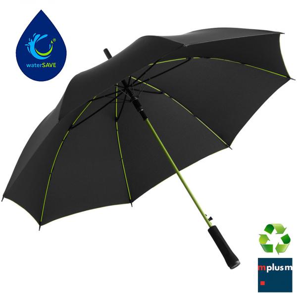 Preiswerter und nachhaltiger Regenschirm. Mit Recycling Bezug und waterSave. Schön mit Logo zu bedrucken.