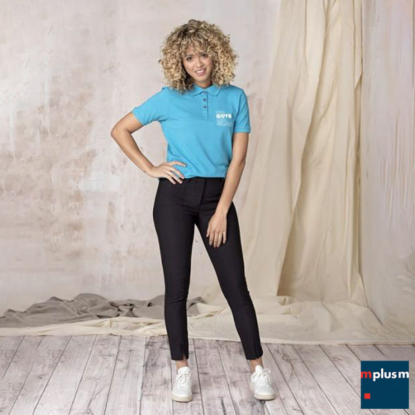 Poloshirt für Damen in Blau mit GOTS Zertifizierung