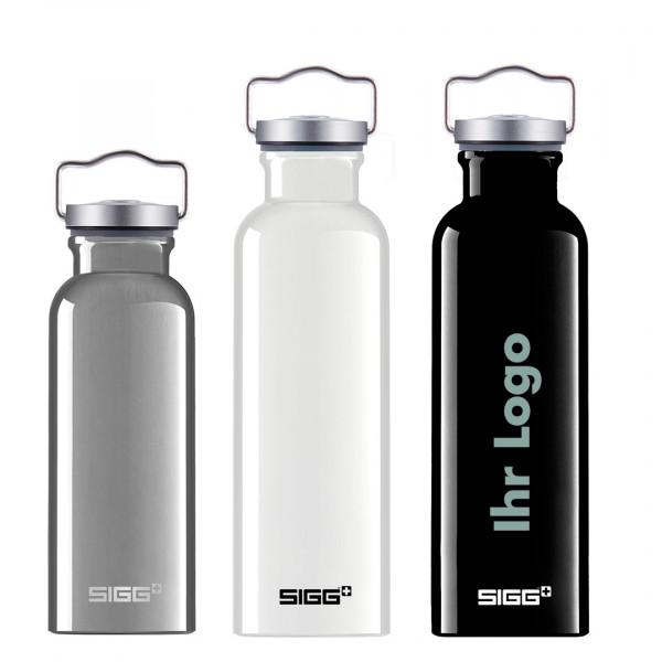 Auslaufsichere SIGG ALU Trinkflasche im Retro Design. Als nachhaltiger Werbeartikel schön mit Logo zu bedrucken