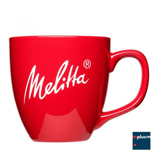 Druckmöglichkeit einer roten Porzellantasse Jumbo mit eigenem Logo bedruckt