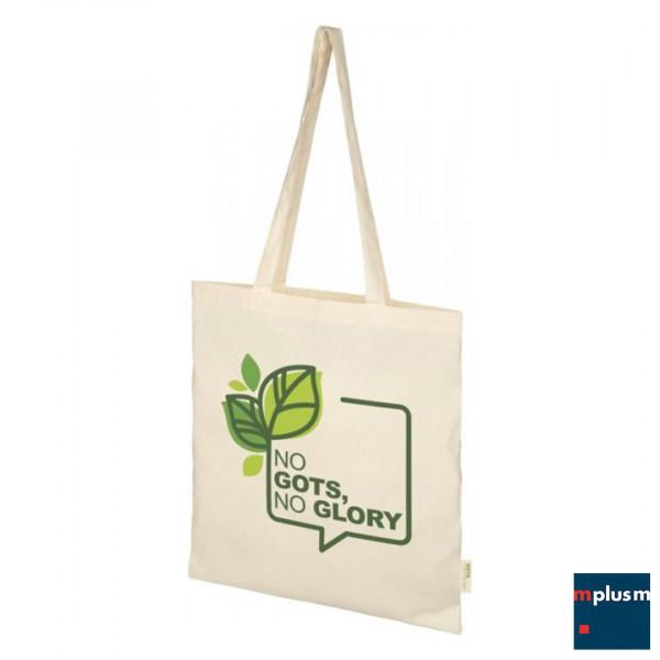Schöne praktische Einkaufstasche aus nachhaltiger Baumwolle mit Logo bedrucken.