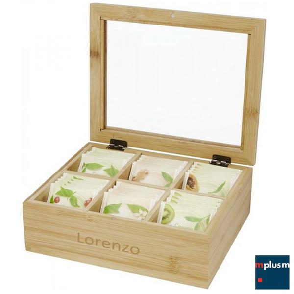 Teebox aus nachhaltigem Bambusholz. Als Werbeartikel mit Logo Gravur lieferbar.