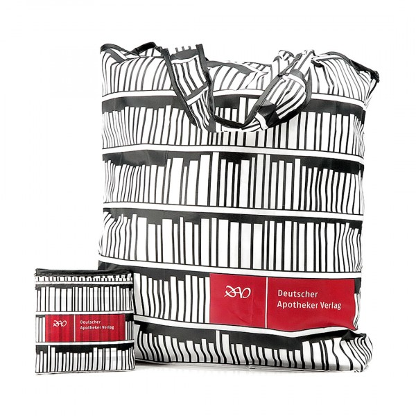 Faltbare Einkaufstasche aus Recycling Material (PET Flaschen). Individuell bedruckt und produziert als Werbeartikel.