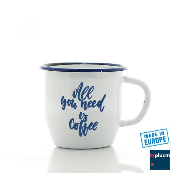 Die kleine bauchige Emaille Tasse mit blauem Rand. Aus Europa, günstig und sehr schön mit Logo oder Motiv bedrucken.