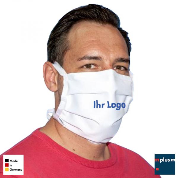 Stoff Mundschutz aus Deutschland. Wiederverwendbar, waschbar und mit Logo zu bedrucken.