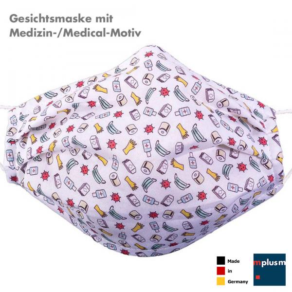 Waschbare Gesichtsmaske aus Baumwolle mit Vlies-Lage. Bedruckt mit Medizin Motiven. Hergestellt in Deutschland.