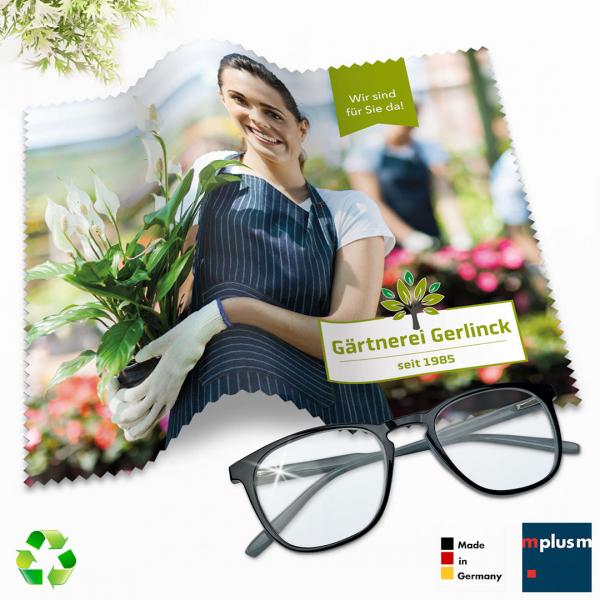 Nachhaltiges Brillenputztuch aus Recycling-RPET und Polyamid. Made in Germany und als Werbeartikel vollflächig mit Logo zu bedrucken.