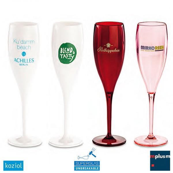Unzerbrechliches Mehrweg Sektglas Cheers mit Logo Druck