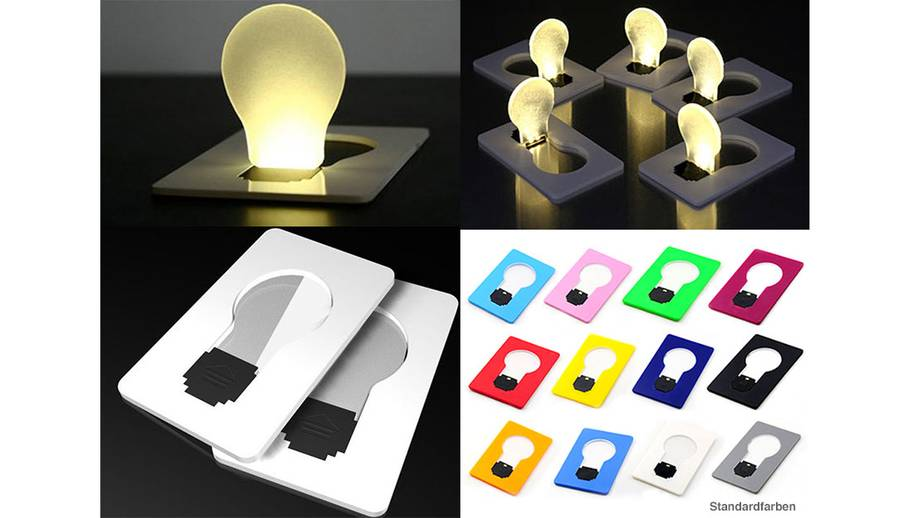 led kreditkarten lampe mailing artikel. Black Bedroom Furniture Sets. Home Design Ideas